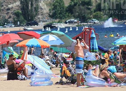 Penticton beaches are filling up as temperatures climb again in the Okanagan.