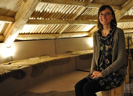Kelowna Museums curatorial manager Amanda Snyder inside the new winter house display.