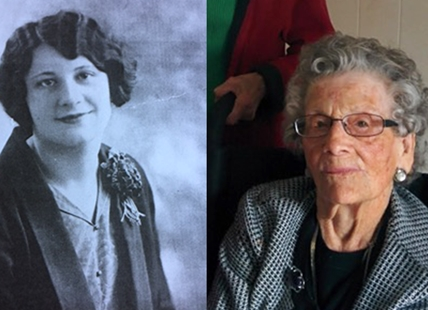 "Ellen ""Dolly"" Gibb will celebrate 112 birthday on April 26, 2017. In these photos she is seen at 18 years old (left) and at 111 years old (right)."