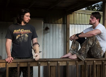 "This image released by Bleecker Street shows Adam Driver, left, and Channing Tatum in ""Logan Lucky."""