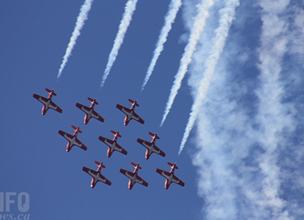 Canadian Forces Snowbirds performing over Penticton, Aug. 7, 2019.