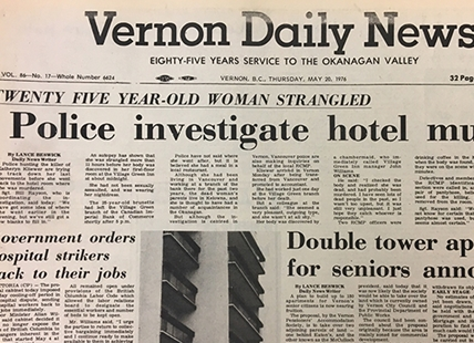 The first article detailing the murder of Katheryn Kliewer in the Vernon Daily News was printed Thursday, May 20, 1976. A copy of that newspaper still remains in the Greater Vernon Musem and Archives.