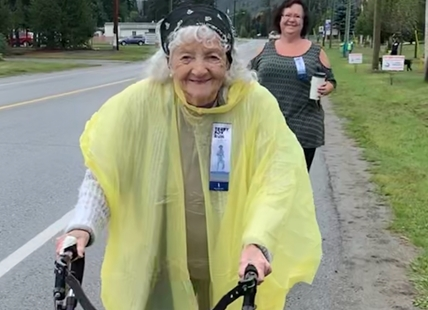 Peggy Armstrong, 99, in the annual Terry Fox walk in Barriere, B.C.