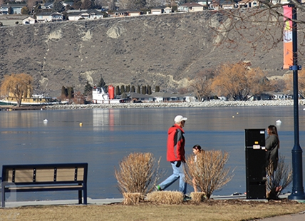 There are several easily accessible and still open pedestrian trails in Kamloops and Okanagan cities, such as Penticton's Okangan Lake promenade, pictured above.