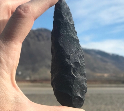 FILE PHOTO. Joanne Hammond found a spearhead on the Kamloops north shore that could be up to 9,000 years old, in March 2020.