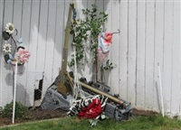 An ejected seat sat in Rose and Joe Miller's backyard after the Snowbird crash on May 17, 2020.