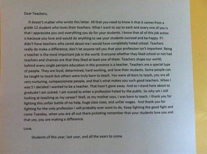 An anonymous student posted this letter on teachers' doors at Salmon Arm Secondary.
