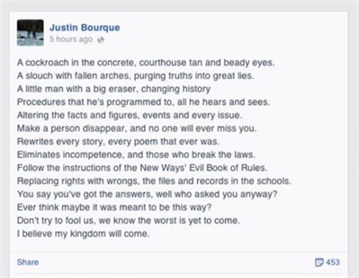 The last Facebook post by Justin Bourque, alleged shooter of RCMP officers in Moncton, N.B. contains Megadeth lyrics.