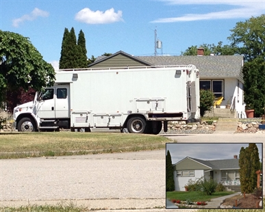 The bomb squad arrives from Vancouver to investigate a pipe bomb that exploded June 6 at a residence on Windsor Avenue in Penticton.