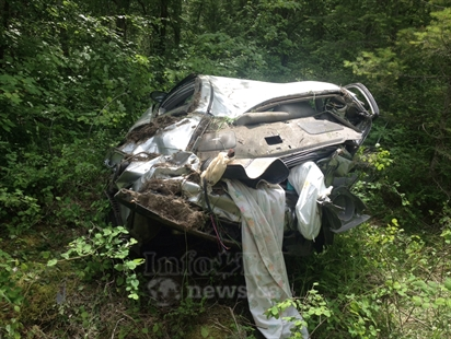 The car in a crash near Sun Peaks was so bashed up police didn't know which model Nissan it was, June 11, 2014.
