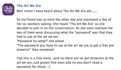 A Facebook post from The Art We Are clarifying the brownie ingredient mix-up.