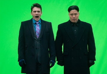 Actor James Franco, left, yawns before filming a scene with an actor playing North Korean leader Kim Jong Un for the movie