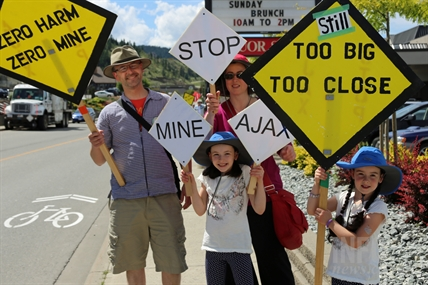 Protesters pickets outside each of the Ajax Mine open houses this week.