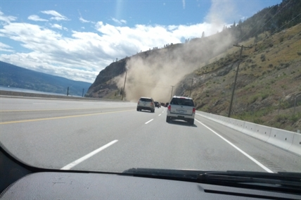 A rock face gave way along Highway 97 just north of Summerland on Sunday, July 6, 2014.