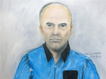 In this artist's sketch, Douglas Garland appears in court in Calgary on Monday, July 7, 2014. Garland, who has been identified in local media as a person of interest in the disappearance of a Calgary five-year-old and his grandparents, made a brief court appearance charged with identity theft in an unrelated case.