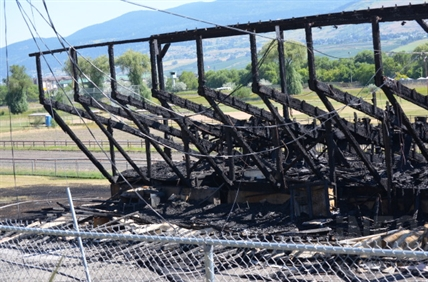 The Kin Race Track grandstands were completely destroyed in a violent fire Wednesday night.