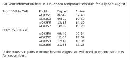 New flight schedule from Air Canada.