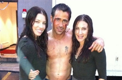 Kelowna native Janene Carleton on the set of Total Recall with Jessica Biel and Colin Farrell.