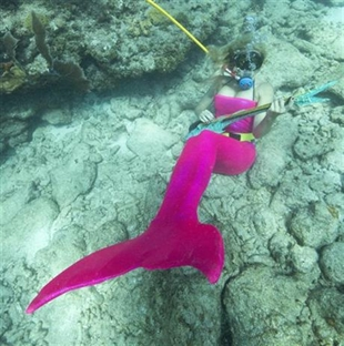 Samantha Langsdale, costumed as a mermaid, pretends to play a mock musical instrument at the Lower Keys Underwater Music Festival on Saturday, July 12, 2014.