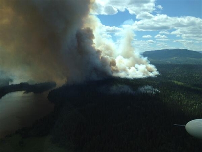 A fire near Euchiniko Lakes, B.C., about 120 kilometres west of Quesnel.