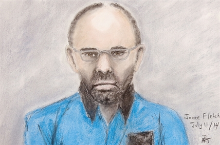 Court sketch of Douglas Garland appearing in court in Calgary July 11, 2014. Garland, a person of interest in Calgary missing person case, has been released on bail.