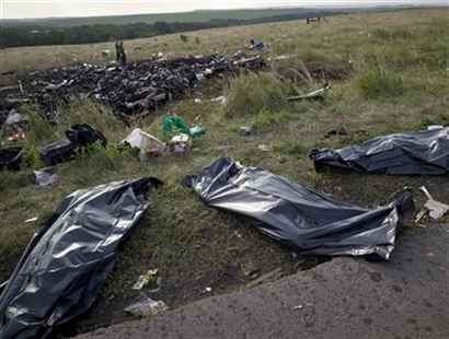 Bodies of victims are covered in plastic sacks at the crash site of Malaysia Airlines Flight 17 near the village of Hrabove, eastern Ukraine, Saturday, July 19, 2014.