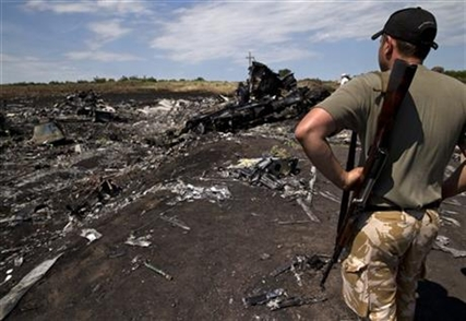 An armed man looks at charred debris at the crash site of Malaysia Airlines Flight 17 in eastern Ukraine, Sunday, July 20, 2014.