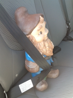 Henry the gnome is ready to go home with Nikolina Ruzic.