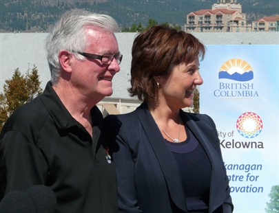 Kelowna Mayor Walter Grey, left, and B.C. Premier Christy Clark at the announcement of the construction of the Okanagan Centre for Innovation in downtown Kelowna on Monday, July 28, 2014.