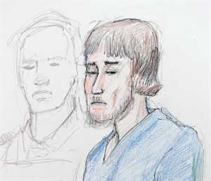 Justin Bourque is shown in this artist's sketch in Moncton on June 6, 2014.