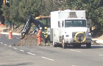 An excavator struck the gas line causing a leak in downtown Kamloops August 5, 2014.