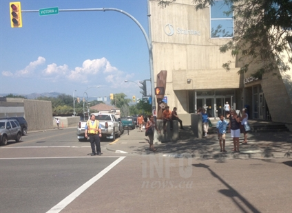 Some downtown Kamloops businesses were evacuated because of a gas line leak August 5, 2014.