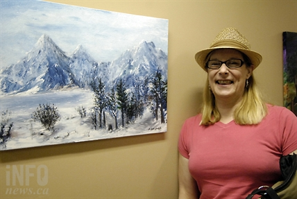 Marie Bertman is a former patient of the free dental clinic. She donated four of her original paintings to the clinic as her way of saying thank you for the treatment she received.