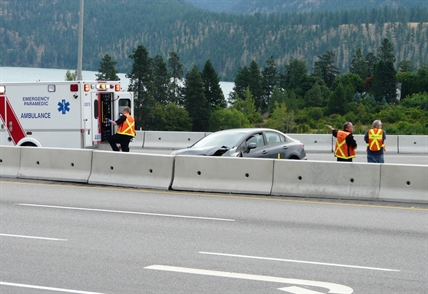 A single vehicle crash on Highway 97 in Lake Country, Saturday, Aug. 15, 2014.