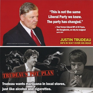 The front and back of a leaflet attacking Justin Trudeau, is shown.