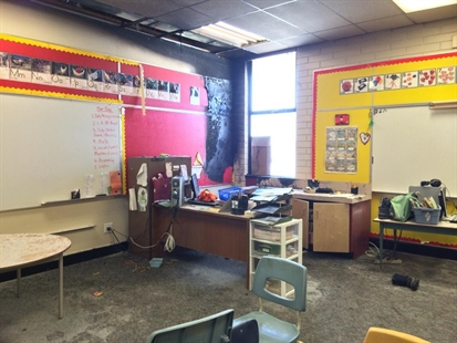 Inside the classroom damaged by an arson fire at South Broadview Elementary in Salmon Arm.
