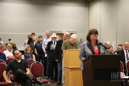 People quickly lined up to speak at the public hearing for the casino relocation project Tuesday evening.
