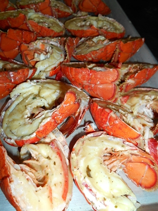 Two boxes of damaged Atlantic lobster still made for a delicious meal at the Kelowna Gospel Mission, Aug. 21, 2014.