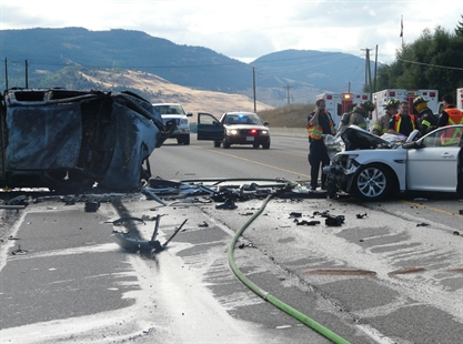 A woman in her 60's from Manitoba was killed in a head-on crash on Highway 97 north of the Kelowna Airport on Saturday, Aug. 30, 2014.