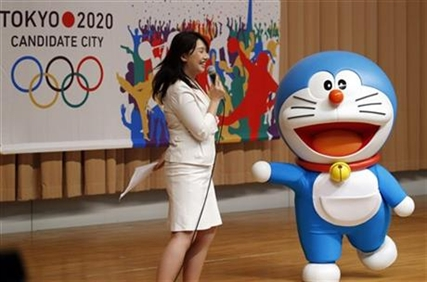 Doraemon participates in a kick-off ceremony of the Tokyo bid to host the 2020 Olympics.