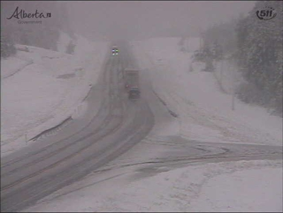 Highways southeast of Calgary were under snow Wednesday, Sept. 3, 2014.