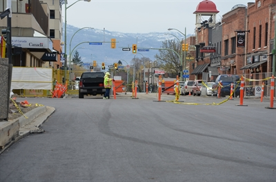 Phase 2 of the Bernard Avenue revitalization is underway with street paving.