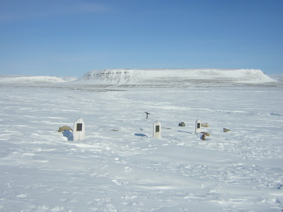 Graves of the crewmen buried on Beechey Island (2004).