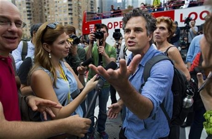 Actor and activist Mark Ruffalo takes questions before the start of the People's Climate March in New York Sunday, Sept. 21, 2014.