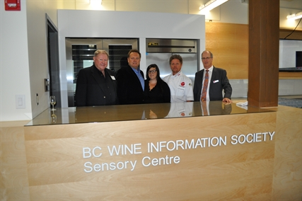 B.C. Wine Information Society President Keith Bevington, Okanagan College's Director of Food, Wine and Tourism Jonathan Rouse, Okanagan College alumna Sara Hacker, Okanagan College Manager of Culinary Arts Chef Bernard Casavant, and Okanagan College President Jim Hamilton toast to the opening of the Sensory Centre.