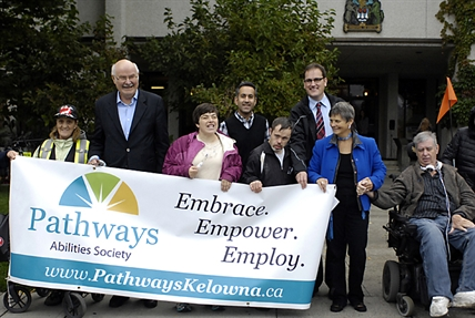 Former Premier Mike Harcourt and acting Mayor Colin Basran spoke at the Pathways Inclusion Chain Wednesday. Also pictured are MP Dan Albas and former Mayor of Kelowna Sharon Shepherd.