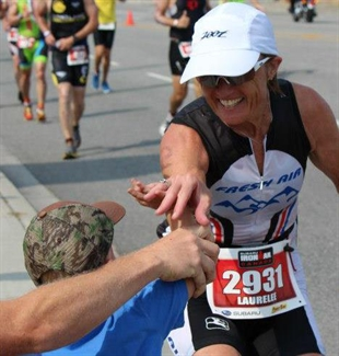 Laurelee Nelson during the Ironman race.