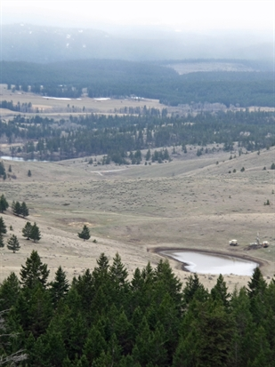 Looking south over the Ajax property equipment can be seen working around a small lake and popular fishing destination Jacko Lake is seen to the left.