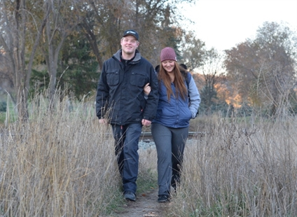 Steven Bockus and Erica Beck use the path often to get into town.