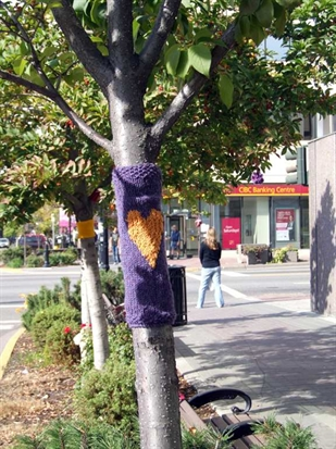 Trees, construction fencing, and all manner of other downtown structures will be adorned with yarn April 26 as part of Arts and Culture week.